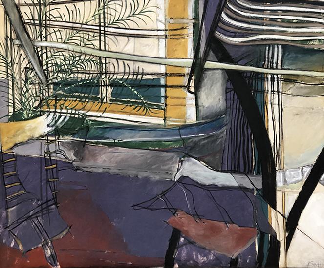 Window on the Peninsula 1976/2016   Oil on linen prepared with rabbit skin glue  155 x 185 cm  Framed in black Australian oak  $11,000 AUD  Location: Cheltenham