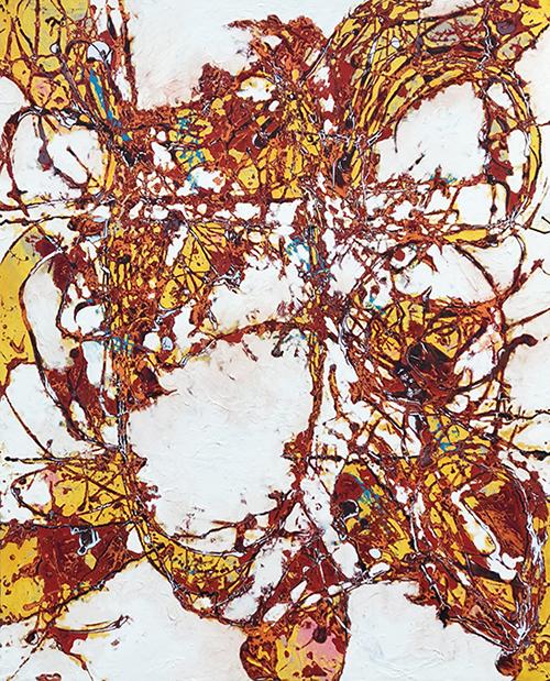 Third Chakra   Mixed media on canvas  125 x 155 cm  Framed in white Australian oak  $13,600 AUD diptych or $6,800 AUD each  Location: Cheltenham