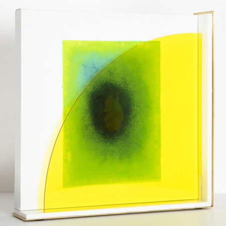 Green Light 2018   Oil on Belgian linen with acrylic angled inserts  40 x 40 cm  Framed in solid brass and acrylic  $2,200 AUD  Location: Cheltenham