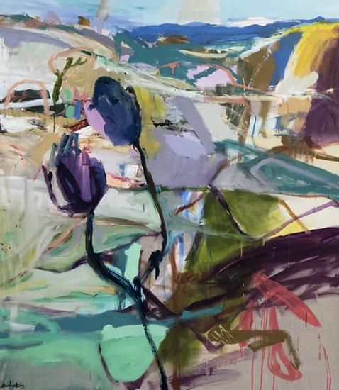 Hill End, Spring #2 2018   Oil on linen  153 x 173 cm  Framed in natural Australian oak  $10,500 AUD  Location: Cheltenham
