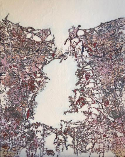 I Never Promised You a Rose Garden 2018   Mixed media on canvas  122 x 152 cm  Framed in white Australian oak  $6,600 AUD  Location: Cheltenham