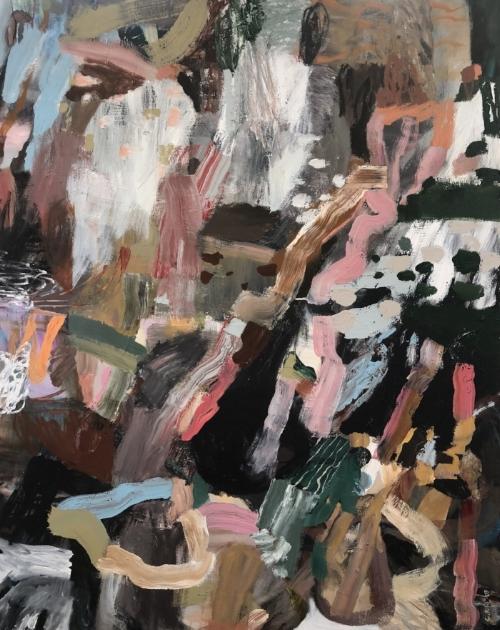 Holding the Waterfall 2018   Acrylic on canvas  123 x 153 cm  Framed in white Australian oak  $3,700 AUD  Location: Cheltenham