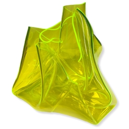 Fluorescent Green Crush 2018   Table plinth, heat moulded polymethyl methacrylate  H23 x W28 x D26 cm  $950 AUD  Location: Cheltenham