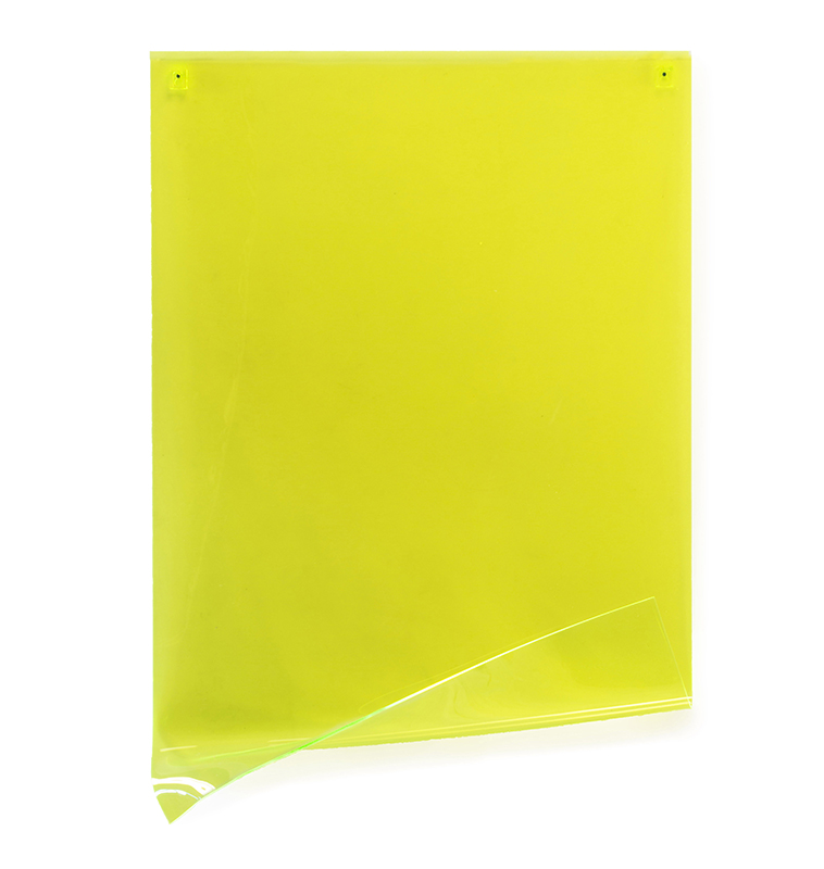 Fluorescent Green Wall Sheet #2   Wall mounted, heat moulded polymethyl methacrylate  H101 x W67 x D13 cm  $1,600 AUD  Location: Cheltenham