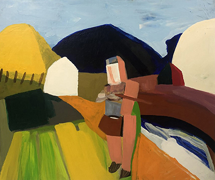 Ned Kelly 2018   Acrylic on canvas board  64 x 54 cm  Framed in black Australian oak  $1,600 AUD  Location: Cheltenham