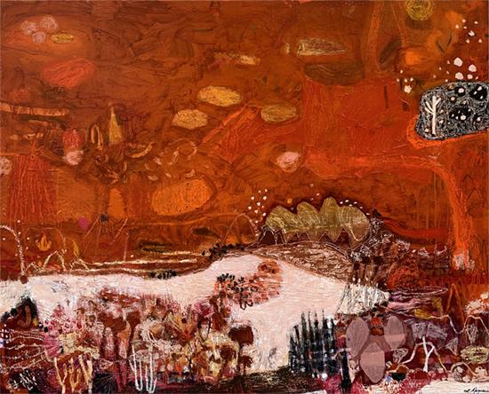 Rusted Serenade 2018   Acrylic and oil on canvas  156 x 126 cm  Framed in black Australian oak  $6,615 AUD  Location: Cheltenham