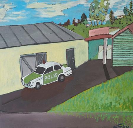 Polis II 2018   Acrylic on canvas  60 x 58 cm  Framed in natural oak  $1,600 AUD  Location: Cheltenham