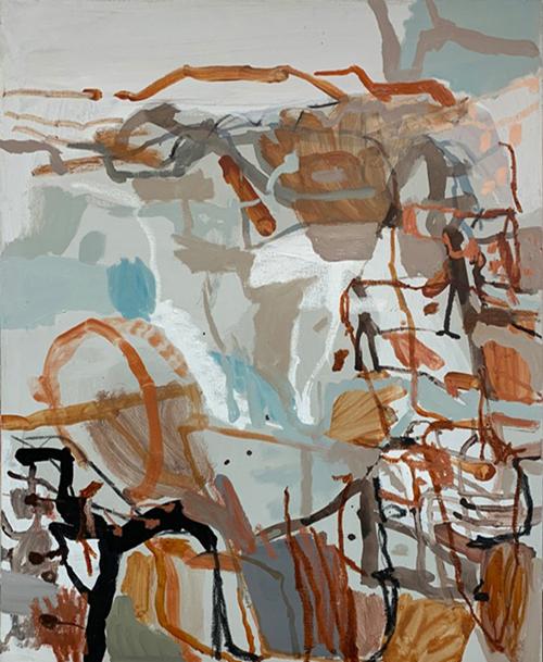 Morning Walk with Kelpie (hills, paddocks & bush)    (Diptych - Left Panel), 2017   Mixed media and oil on canvas  80 x 100 cm  Framed in white Australian oak  $2,285 AUD  Location: Cheltenham