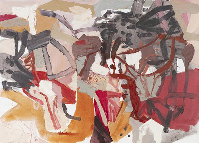 Roadtrip reverie (from Karijini sketchbook) 2018   Mixed media, oil and beeswax on canvas  140 x 100 cm  Framed in white Australian oak  $4,250 AUD  Location: : Cheltenham