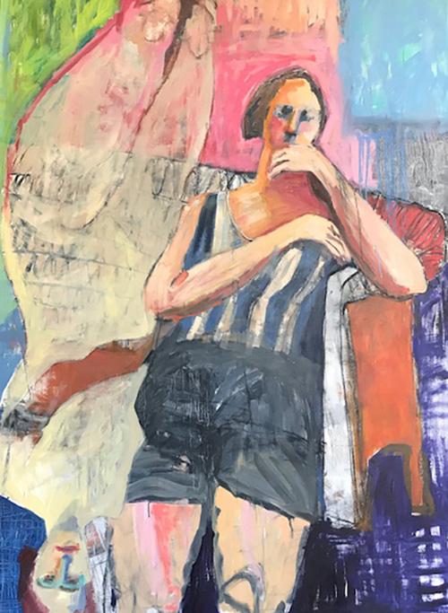 Memories Past (After Deibenkorn) 2018   Oil and Acrylic on canvas  123 x 163 cm  Framed in white Australian oak  $5,900 AUD  Location: Cheltenham