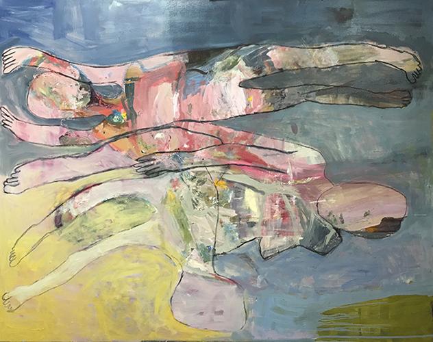 Float, Sink, Swim 2018   Oil and acrylic on canvas  152 x 122 cm  Unframed  $5,900 AUD  Location: Cheltenham