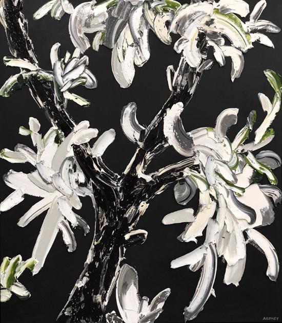 Mars 2019   Oil and acrylic on canvas  143 x 163 cm  Framed in black Australian oak  $6,990 AUD  Location: Cheltenham