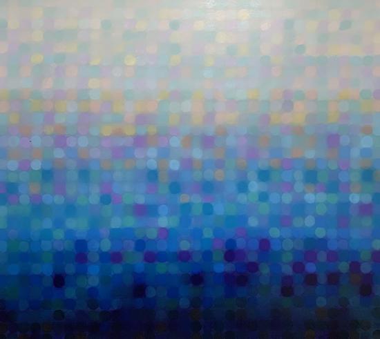 Aqua Stratum III 2018   170 x 150 cm  Oil on linen  $16,500 AUD  Location: Cheltenham