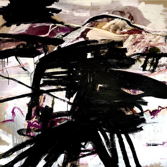 The Spinning Man Makes an Appearance 2019   Oil on linen  183 x 183 cm  Framed in white Australian oak  $13,300 AUD  Location: Cheltenham