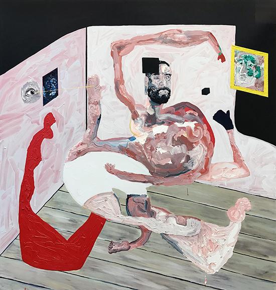 I heard wearing white undies will make you a great painter (self portrait) 2019   Oil on polyester  180 x 190 cm  Unframed  $8,250  Location: Cheltenham