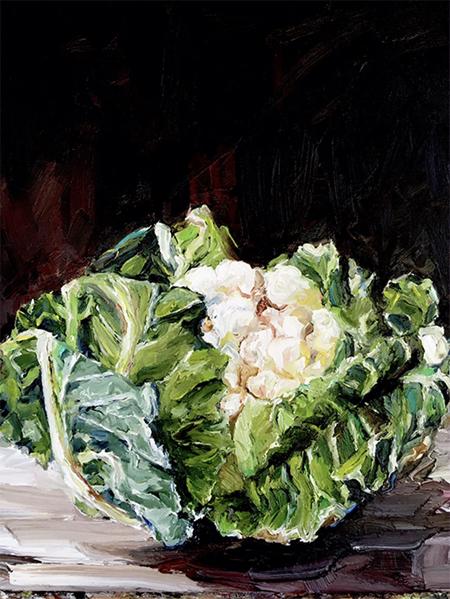 'Garden Show First Place - Cauliflower'   40 x 50 cm,  Oil on canvas  SOLD