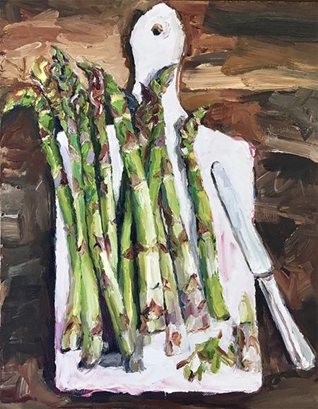 Still Life - Asparagus 2019   44 x 54 cm  Oil on canvas  $1,390 AUD  Location: Cheltenham