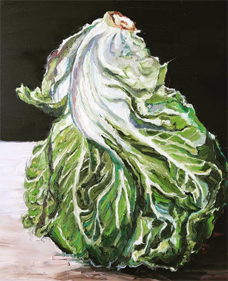 'Garden Show- First Place Lettuce 2019   44 x 54 cm  Oil on canvas  $1,490 AUD  Location: Armadale