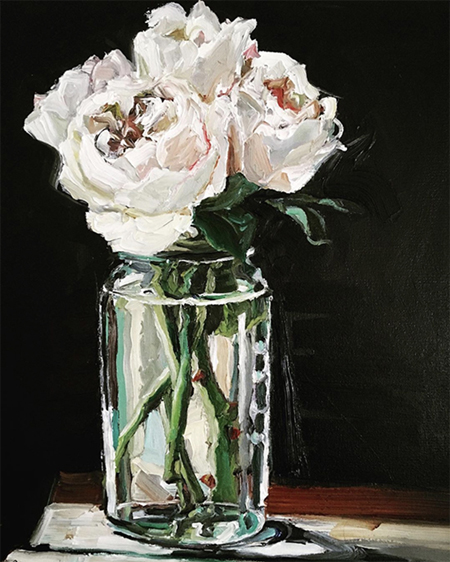 'Peonies in Old Jar'  40 x 50 cm,  Oil on canvas  SOLD