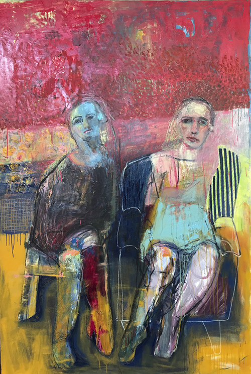The Sitting 2019   Oil and charcoal on canvas  120 x 180 cm  Framed in black Australian oak  $6,730 AUD  Location: TBC