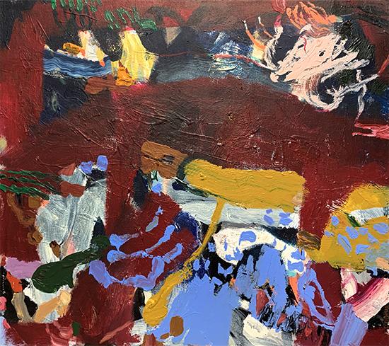 River Bed 2019   Acrylic on canvas  100 x 90 cm  Framed in white Australian oak  $2,380 AUD  Location: Cheltenham
