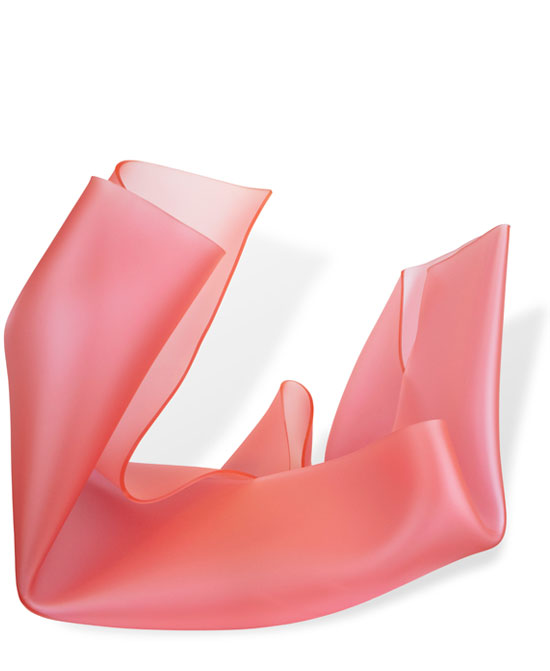Pink Satin Twisted Form (freestanding)   H60 x W85 x D70 cm  Table plinth, heat moulded polymethyl methacrylate  2,500.00  Location: Cheltenham