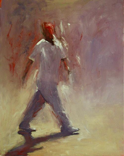 Walking Man, 2019   Oil on canvas  44 x 54 cm  Framed in black Australian oak  $1,220 AUD  Location: Cheltenham