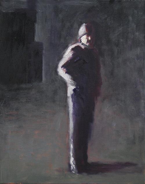 Figure - Dark Interior, 2019   Oil on canvas  44 x 54 cm  Framed in black Australian oak  $1,220 AUD  Location: Cheltenham