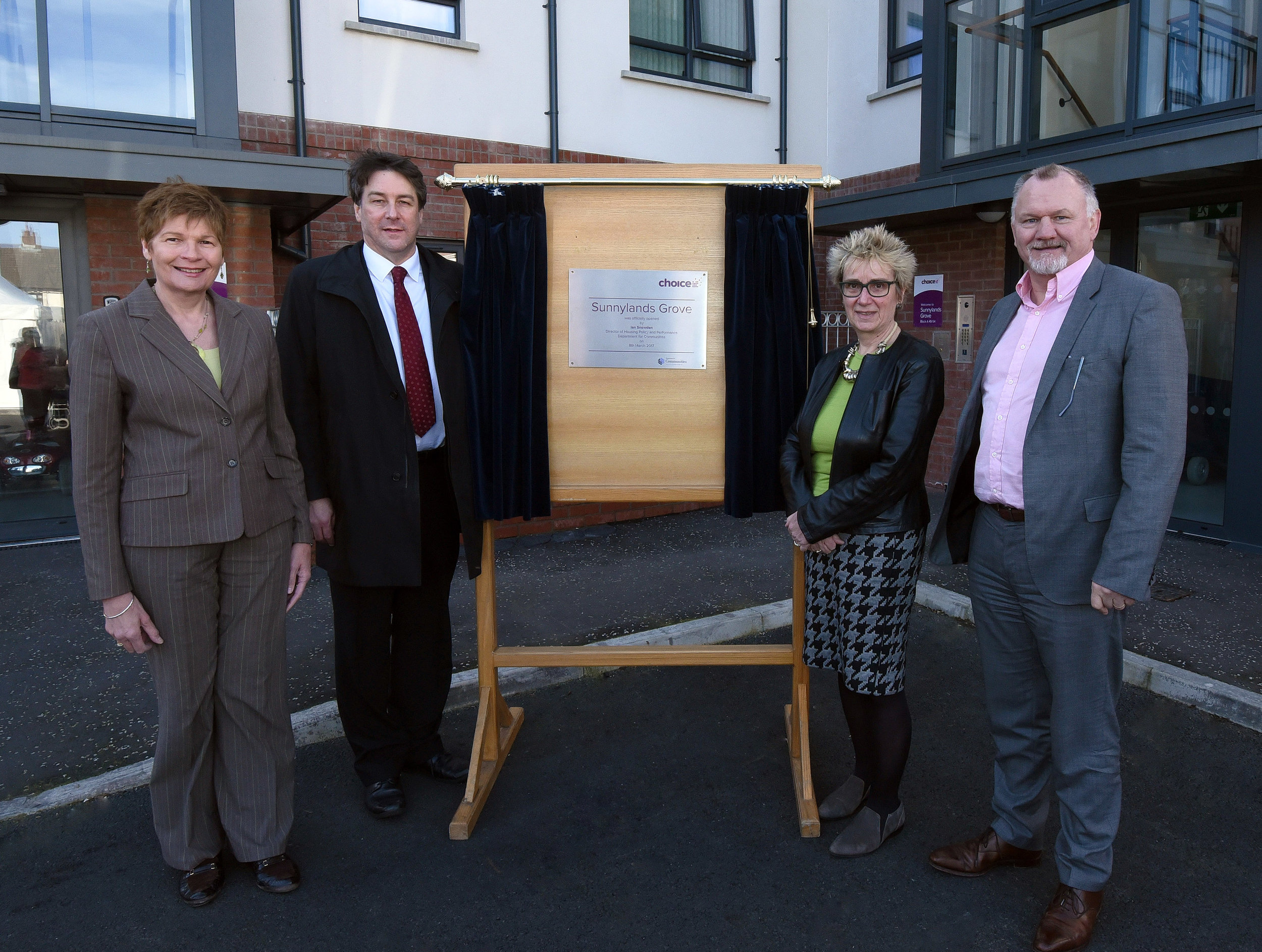 Left to right: Jayne McFaul (Choice Housing Ireland), Ian Snowden (Director of Housing Policy and Performance at the Department for Communities), Hazel Bell (Chair of Choice) and Harry Rolston (Rolston Architects)