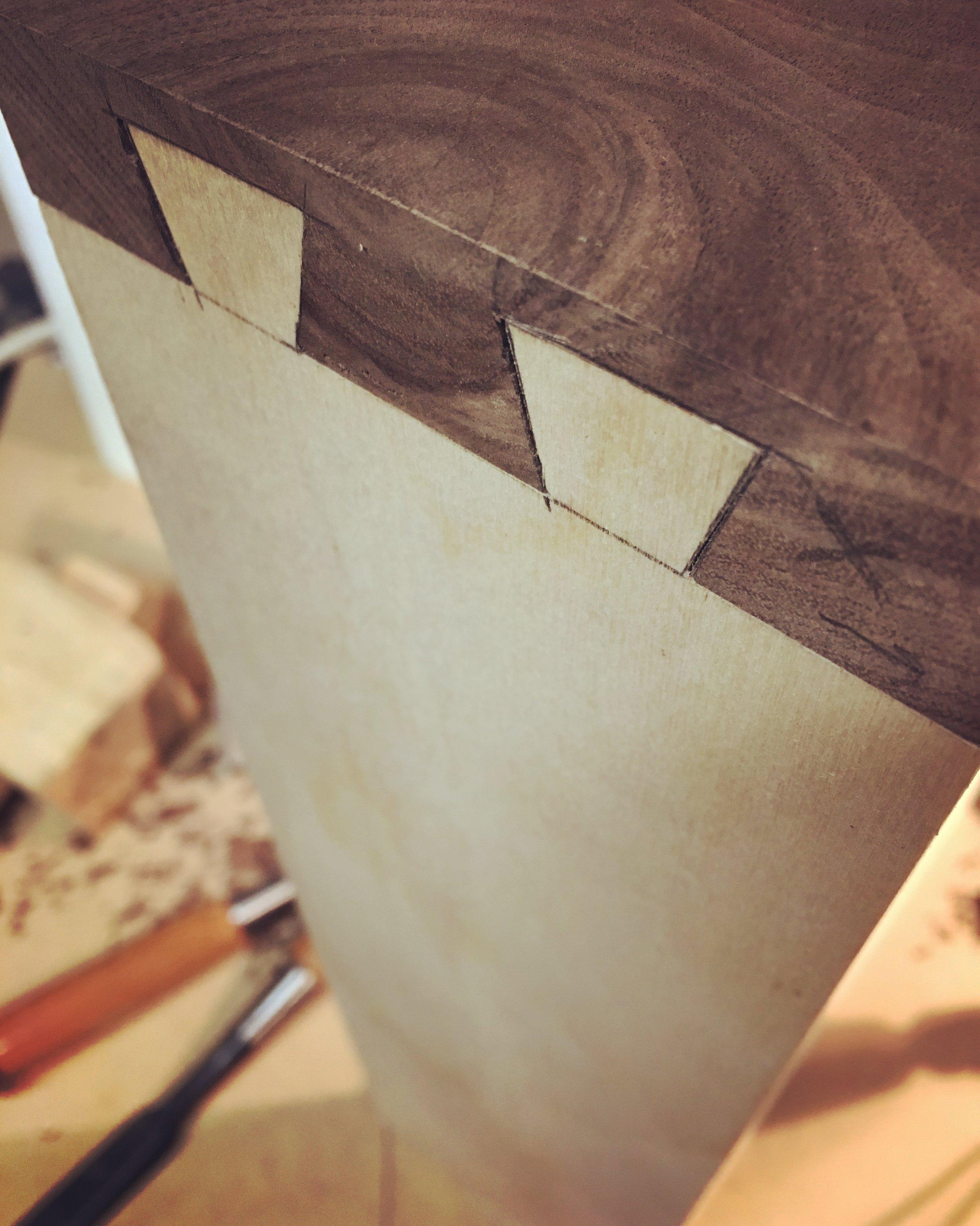 Work in progress - fitting the hidden dovetails
