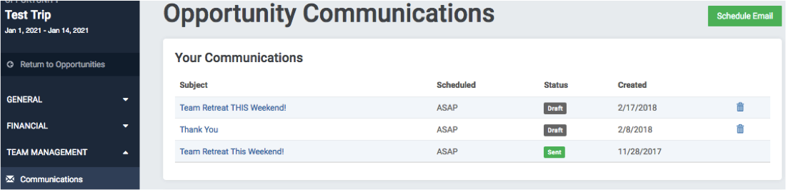 """Communications"" is located in the Trip Navigation."