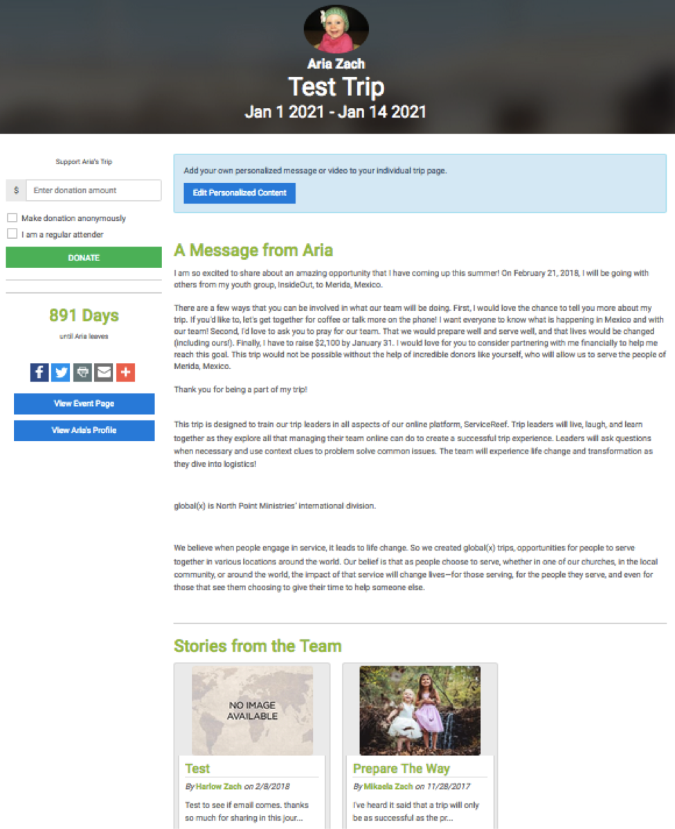 Fundraising page example
