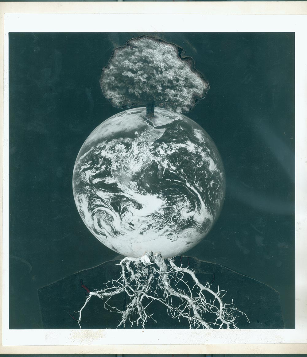 Earth 4 - PhotomontageGelatin silver print on card1988First published:The Gaia Peace Atlas,Pan Books, 1988Catalogue: PK/164