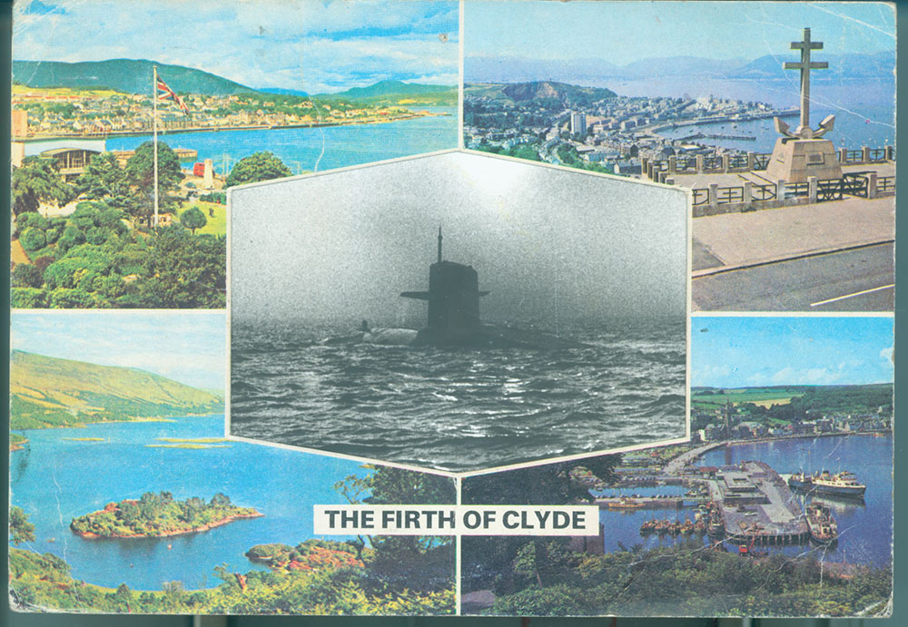 The Firth of Clyde - PhotomontageGelatin silver prints, inkand postcard on card1981First published:No Nuclear Weapons,CND/PlutoPress, 1981Catalogue: PK/102