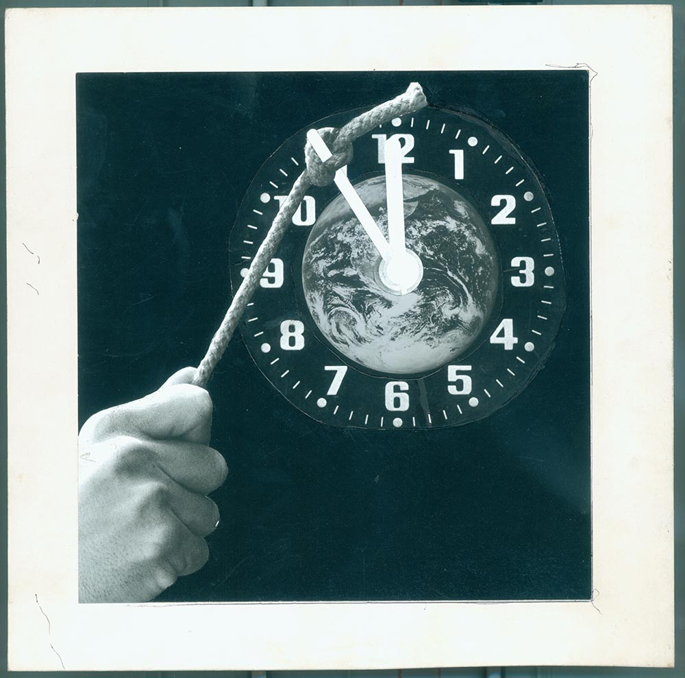 Halting the Doomsday Clock - PhotomontageGelatin silver prints andink on card1988First published:The Gaia Peace Atlas,Pan Books, 1988Catalogue: PK/96