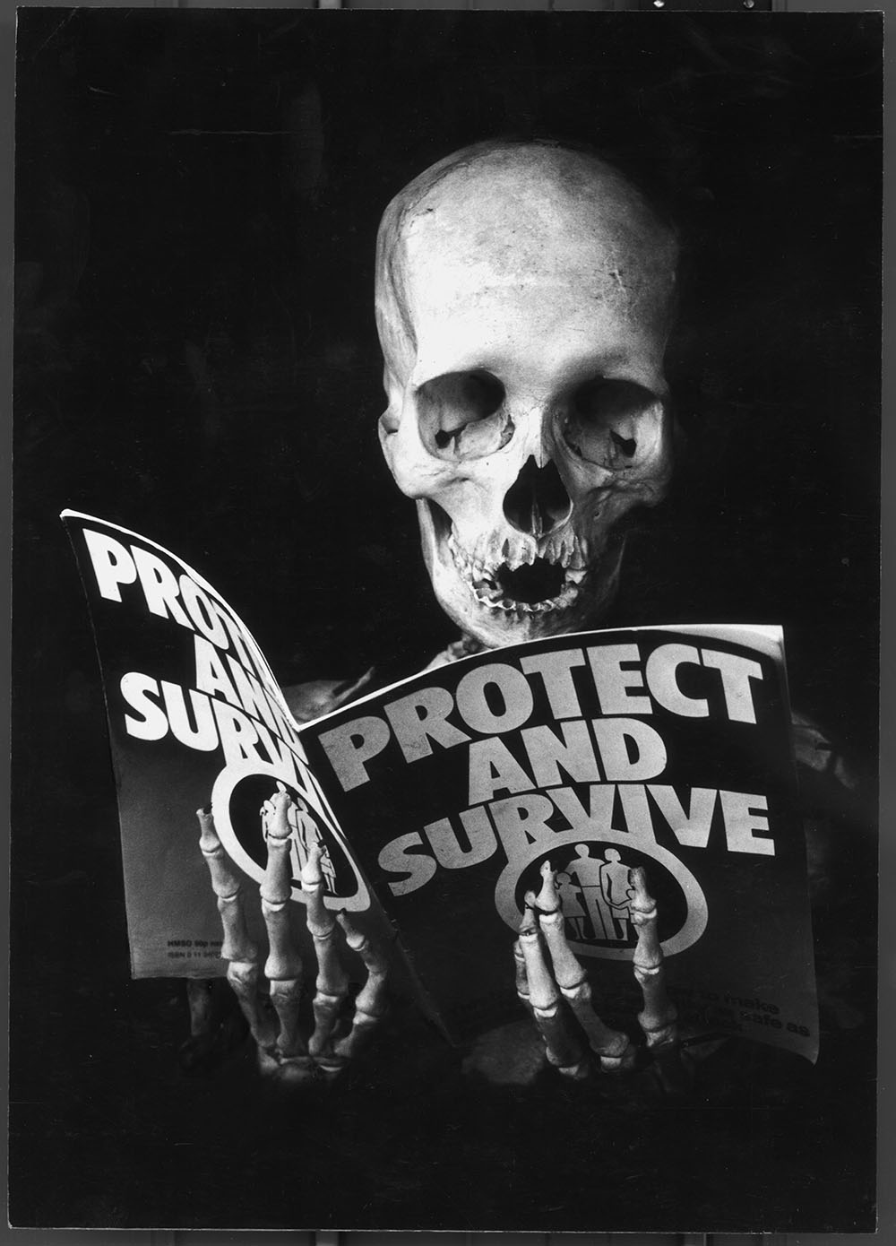 Protest and Survive - PhotomontageGelatin silver prints andink on card1981First published:No Nuclear Weapons,CND/Pluto Press, 1981Catalogue: PK/100