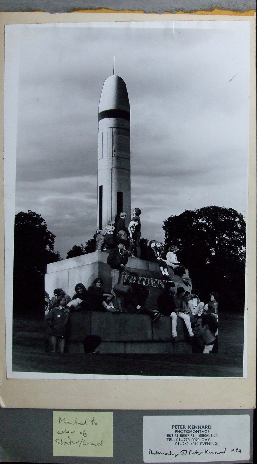 Trident, A Monument to Waste - PhotomontageGelatin silver prints andink on card1986First published: About Turn,Pluto Press, 1986Catalogue: PK/16