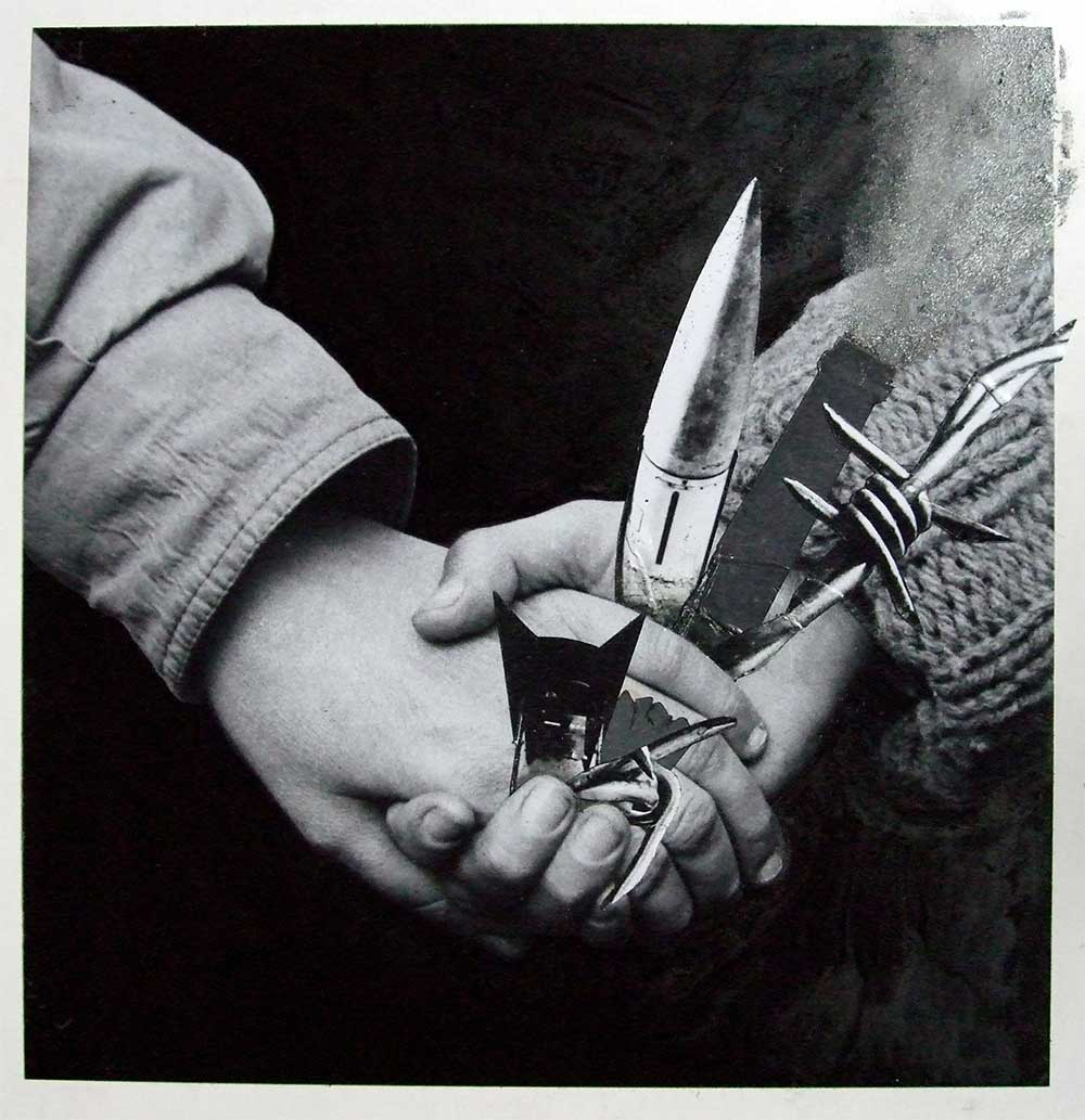 Disarm 2 - PhotomontageGelatin silver prints, gouache,ink and carbon on card1988First published: The Gaia Peace Atlas,Pan Books, 1988Catalogue: PK/347