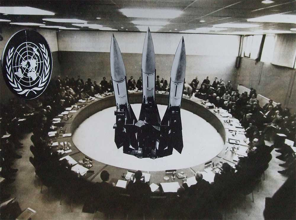 United Nations? - PhotomontageGelatin silver prints andink on card1986First published:Images for the End of theCentury,Journeyman Books, 1990Catalogue: PK/77