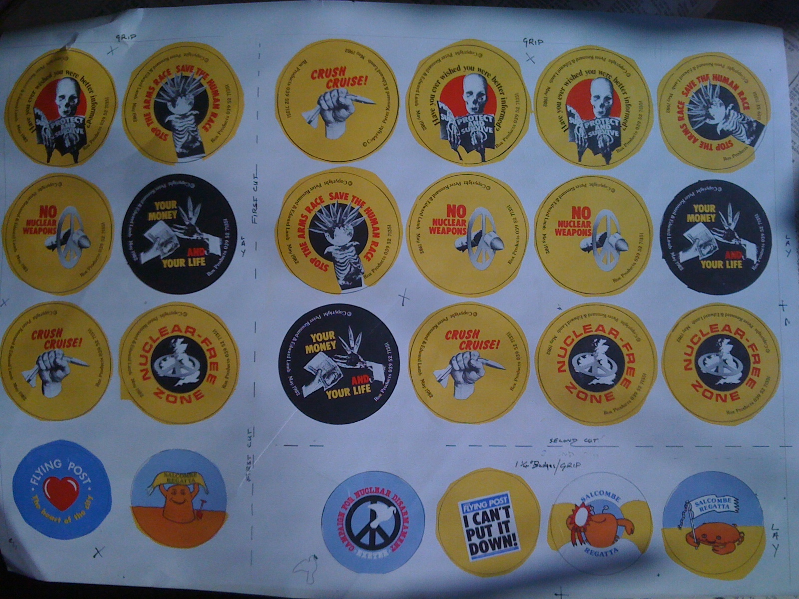 Badges  Anti nuclear badges produced for CND in the 80's