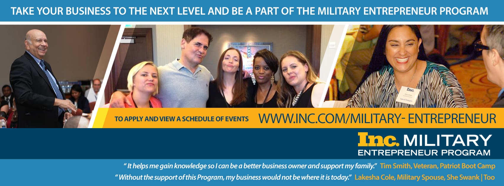 As a military spouse owned company, we are proud members of the Inc. Military Entrepreneur Program, and grateful for the opportunity to design their marketing and event materials. McNeese Thomas Group. and Inc. Magazine created this program in 2011 to help veterans, service members, and their families begin their own businesses through mentorships and regional events. Learn more by clicking the image above, and by joining their Facebook group, @Military Entrepreneur Program.