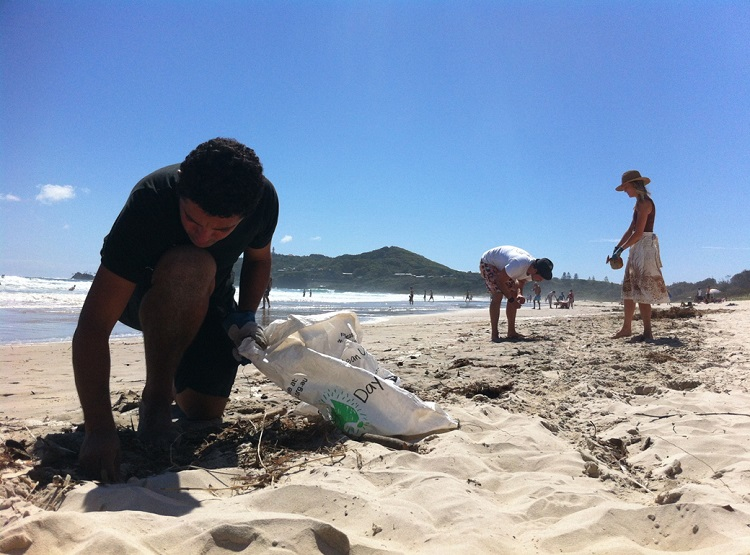 Volunteers collect rubbish off the beach with Positive Change For Marine Life. They have held a global 'Marine Debris' campaign where ambassadors worldwide have helped clean up the beaches.