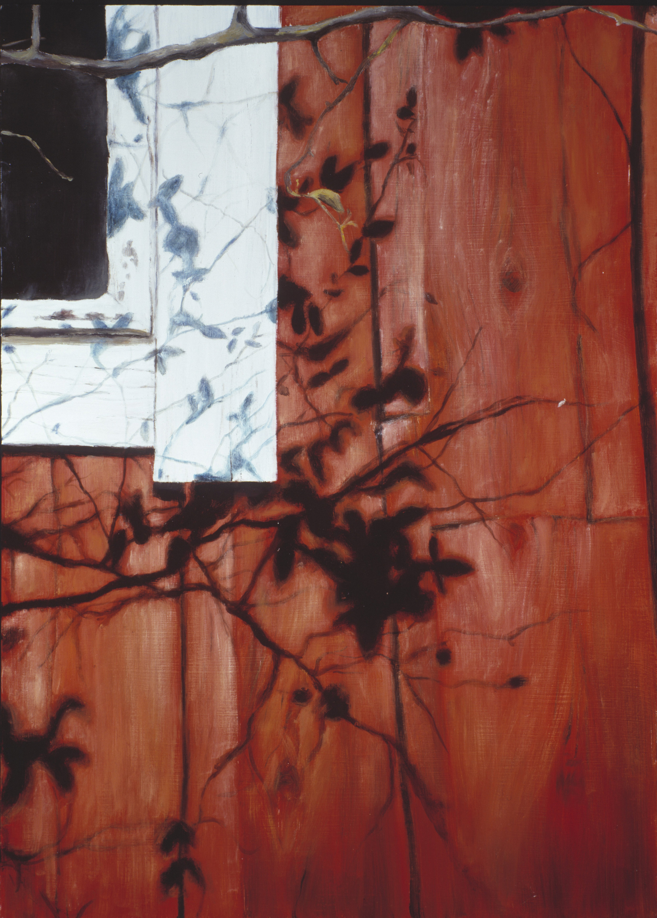Exterior with red ochre wall  Oil on board  70 x 50 cm  2002
