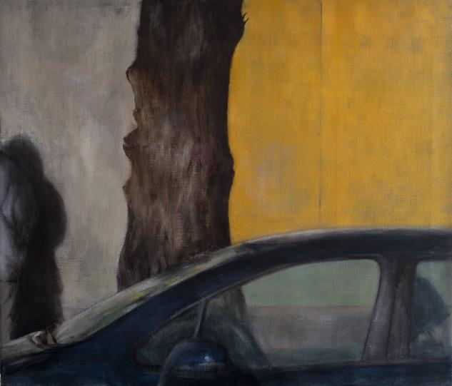 Exterior with car window  Oil on canvas 110x130 cm 2011