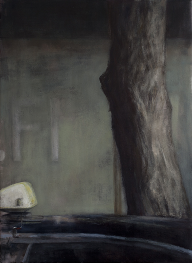 Exterior with taxi light  Oil on canvas 100x73 cm 2011