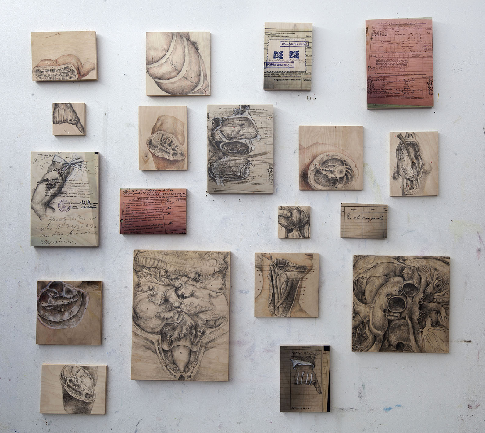 Sarjasta Välskärin (kertomattomat) kertomukset #28, ammatin anatomia  Piirustuksia ja arkistodokumenttien valokuvia puulle Pienin 10 x 10 cm, suurin 40 x 30 cm 2016