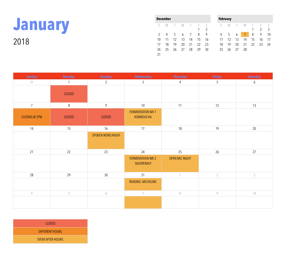 Our schedule is updated as events are added! See an empty slot on a day you want to book something? Send us a message! We'll book it off for you ASAP.
