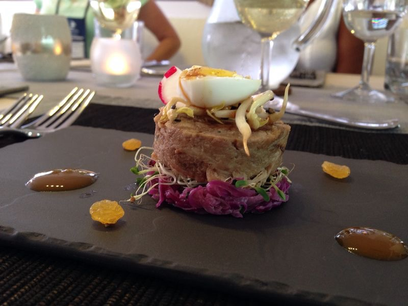 Pulled Pork, Pickled Red Cabbage, Quails Egg and Citrus Reduction