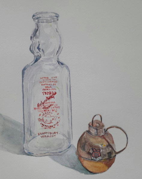Milk Bottle and Creamer, 2015, watercolor.