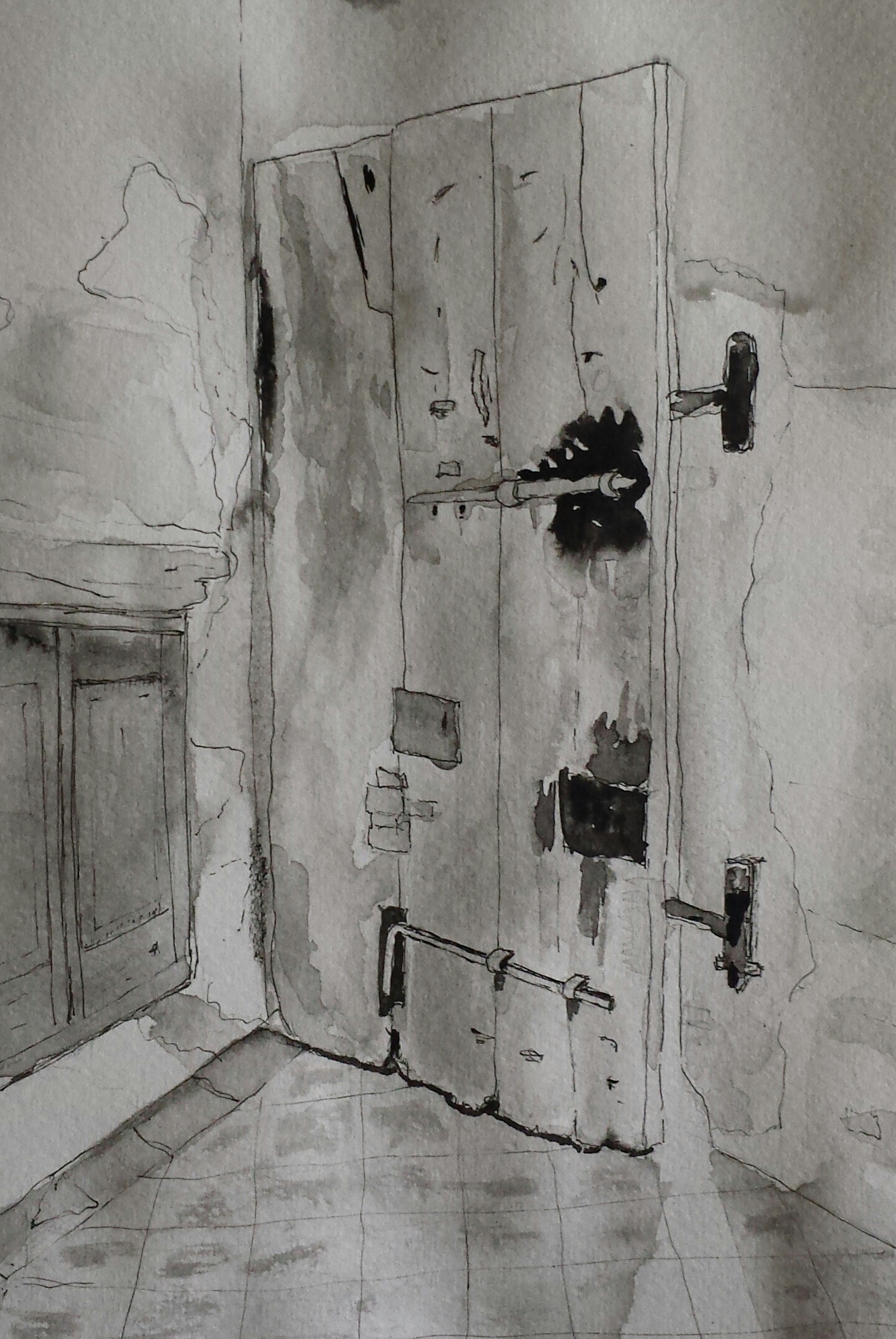 Castle Door I, Orzinuovi, Italy, 2016, pen and wash.